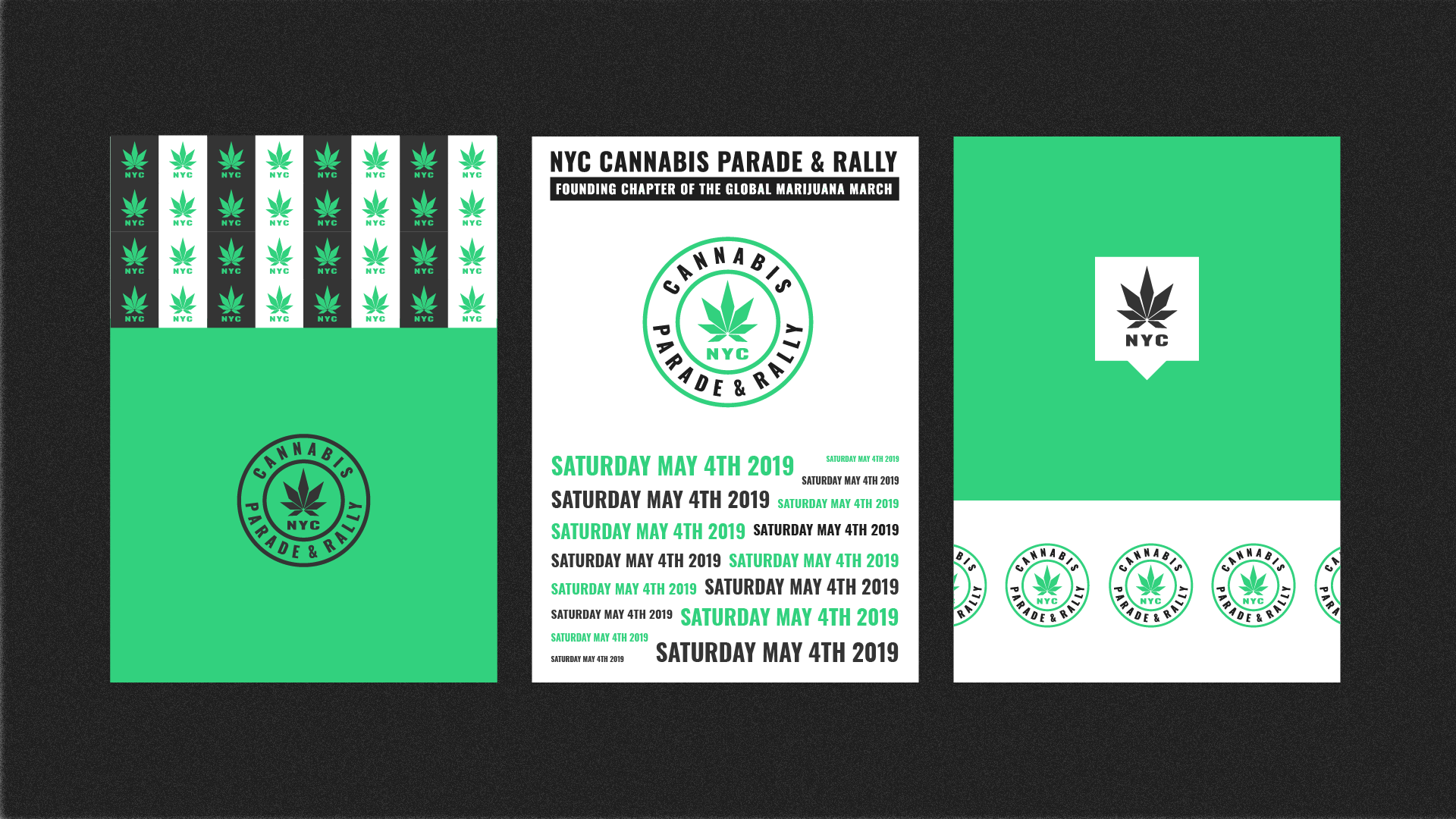 NYC Cannabis Parade visual identity by Mark Forscher